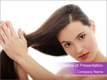 Long Dark Hair PowerPoint Templates - Slide 1