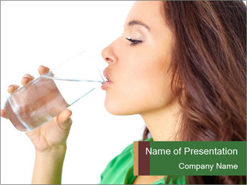 Woman Drinking Water PowerPoint Templates - Slide 1