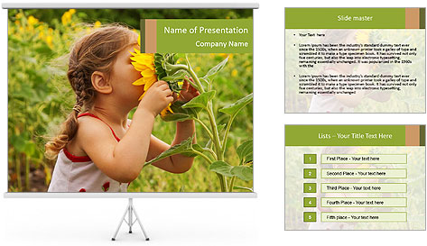 Girl And Sunflower PowerPoint Template
