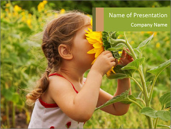 Girl And Sunflower PowerPoint Template - Slide 1