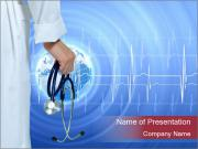 Doctor Holding Stethoscope PowerPoint Template