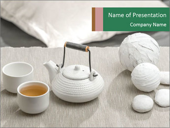 White Ceramic Tea Set PowerPoint Template