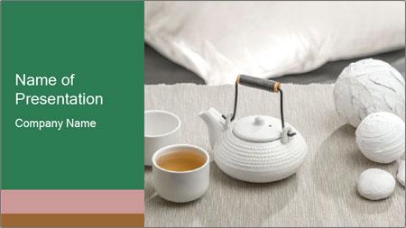 White Ceramic Tea Set PowerPoint Template