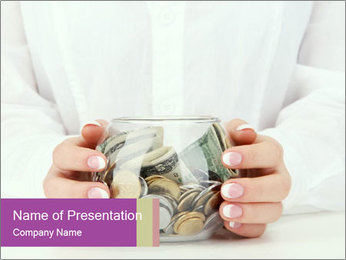 Glass Bowl With Coins And Dollar Notes PowerPoint Template - Slide 1