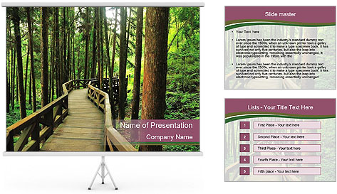 Wooden road PowerPoint Template