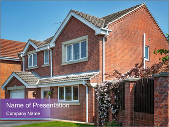 Red brick house PowerPoint Template