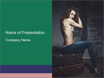 Beautiful sexy woman sitting PowerPoint Template