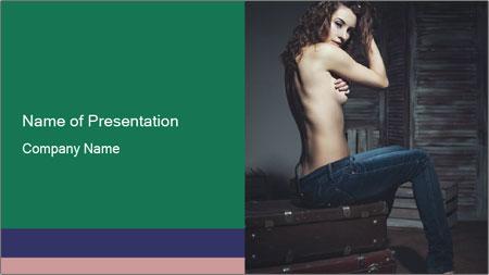 Beautiful sexy woman sitting PowerPoint Template