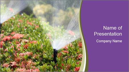 Sprinkler head watering PowerPoint Template