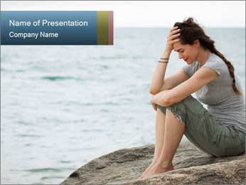 Upset and depressed woman sitting PowerPoint Template - Slide 1