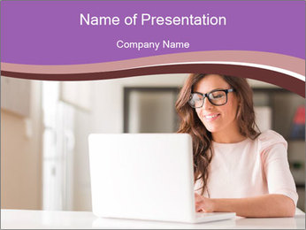 Young Beautiful Woman Using Laptop PowerPoint Template
