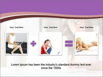 Young Beautiful Woman Using Laptop PowerPoint Templates - Slide 22