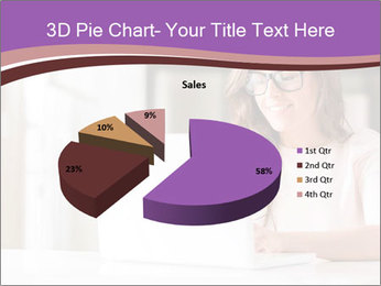 Young Beautiful Woman Using Laptop PowerPoint Templates - Slide 35