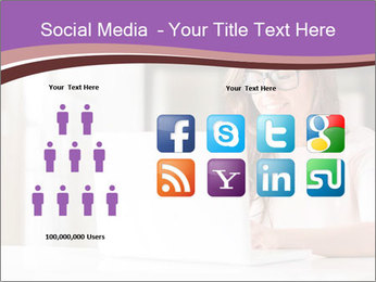 Young Beautiful Woman Using Laptop PowerPoint Templates - Slide 5