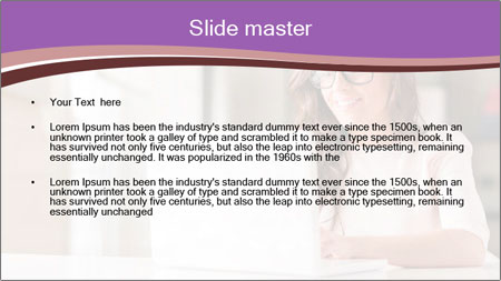 Young Beautiful Woman Using Laptop PowerPoint Template - Slide 2