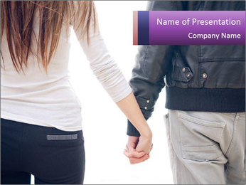 Young couple holding hands. PowerPoint Template