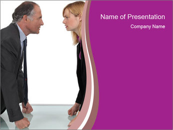 Businessman and businesswoman PowerPoint Template