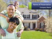 Happy African American Family PowerPoint Template