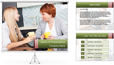 Mother And Adult Daughter PowerPoint Template