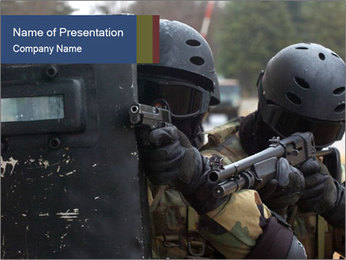 Police During Terrorism Attack PowerPoint Template - Slide 1