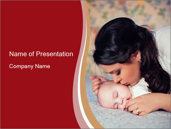 Mother Kisses Baby PowerPoint Template - Slide 1