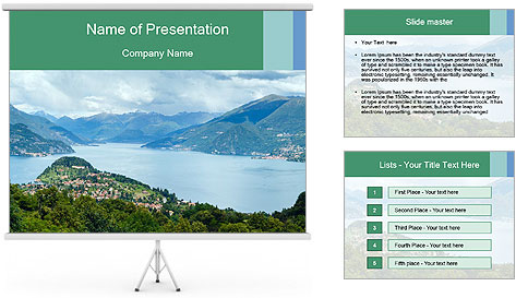 Alpine Lake Como summer view PowerPoint Template