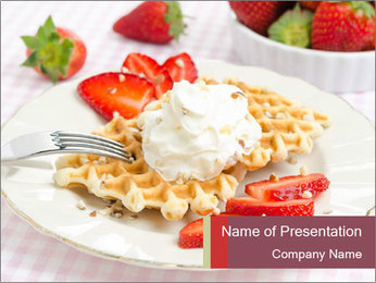 Belgian waffles with fresh strawberries PowerPoint Template - Slide 1