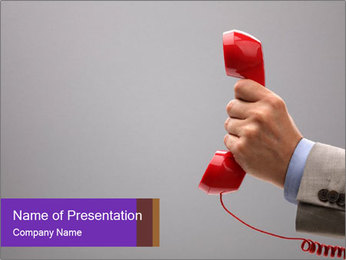 Red phone over gray background PowerPoint Template - Slide 1