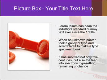 Red phone over gray background PowerPoint Template - Slide 13