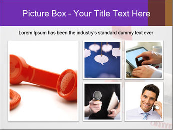 Red phone over gray background PowerPoint Template - Slide 19