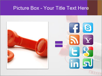 Red phone over gray background PowerPoint Template - Slide 21