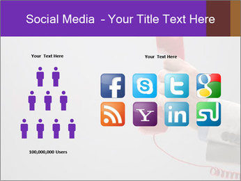 Red phone over gray background PowerPoint Template - Slide 5