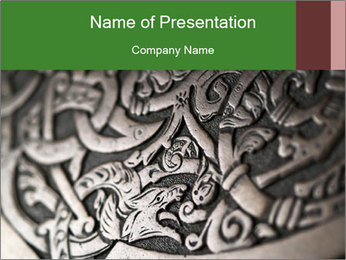 Viking wood carving depicting a dragon PowerPoint Template
