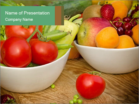 Fresh fruits and vegetables PowerPoint Templates