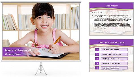 Lovely asian girl PowerPoint Template