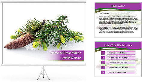 Fir branch with cone PowerPoint Template