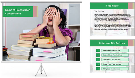 Overwhelmed student PowerPoint Template