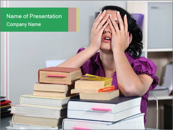 Overwhelmed student PowerPoint Template - Slide 1