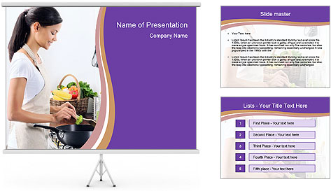Woman standing by the stove PowerPoint Template