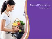 Woman standing by the stove PowerPoint Templates
