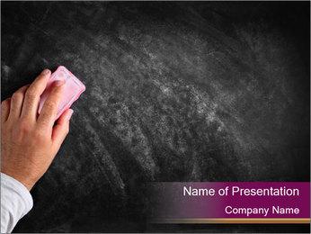 Hand with eraser PowerPoint Template - Slide 1