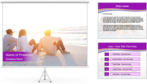 Rear view of three friends men sitting together PowerPoint Template