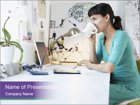 Side view of young businesswoman PowerPoint Template