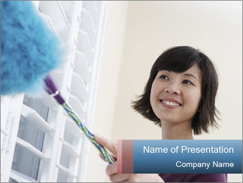 Closeup of a smiling Asian woman PowerPoint Template - Slide 1