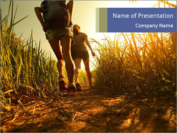 Two ladies hikers walking PowerPoint Template