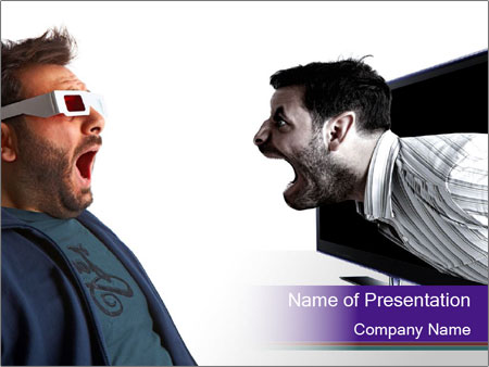 Man scared by a monster PowerPoint Templates