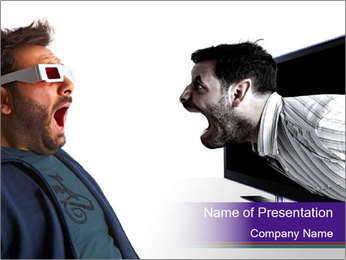 Man scared by a monster PowerPoint Template