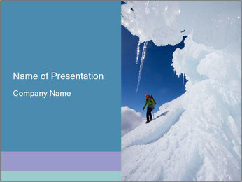 Alpinist descending snow PowerPoint Template