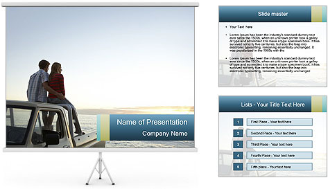 Rear view of young couple PowerPoint Template