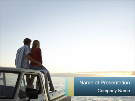 Rear view of young couple PowerPoint Templates